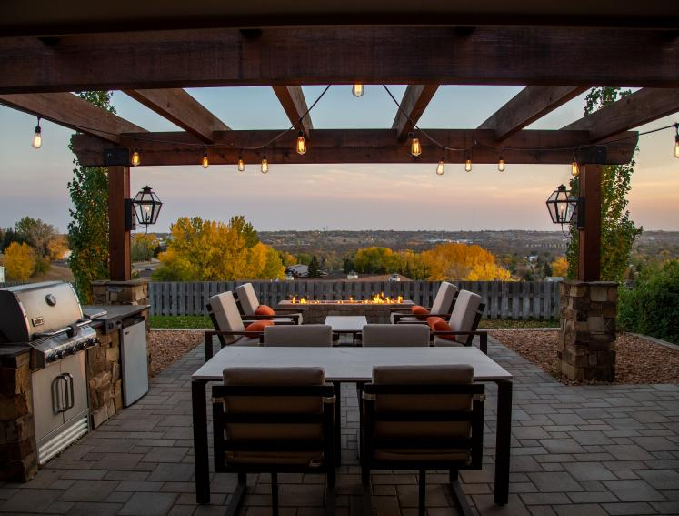 Outdoor dining area with ambient lighting