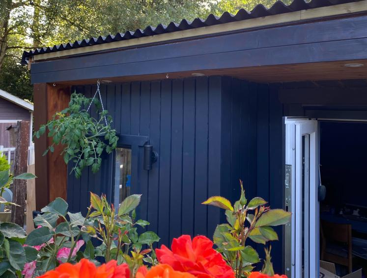 Black painted shed with black ONDULINE CLASSIC roofing and red flowers