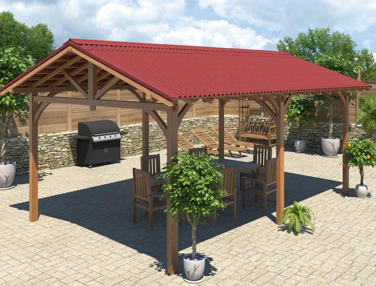 3D image of outdoor dining area made from Onduline roofing sheets