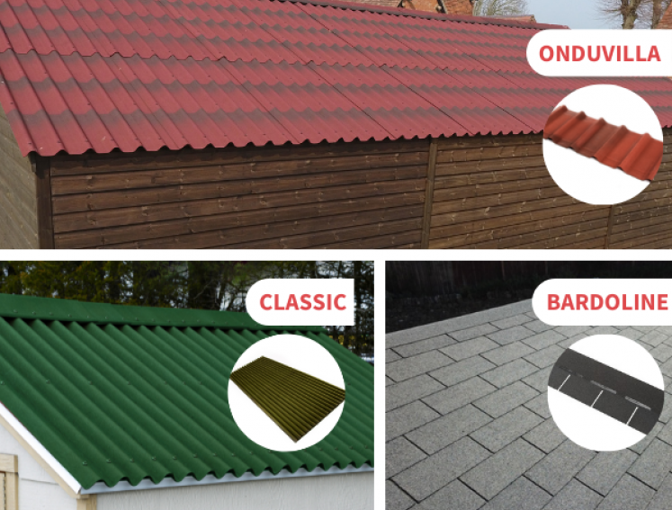 Images of three types of Onduline roofing sheets; ONDUVILLA, BARDOLINE and CLASSIC