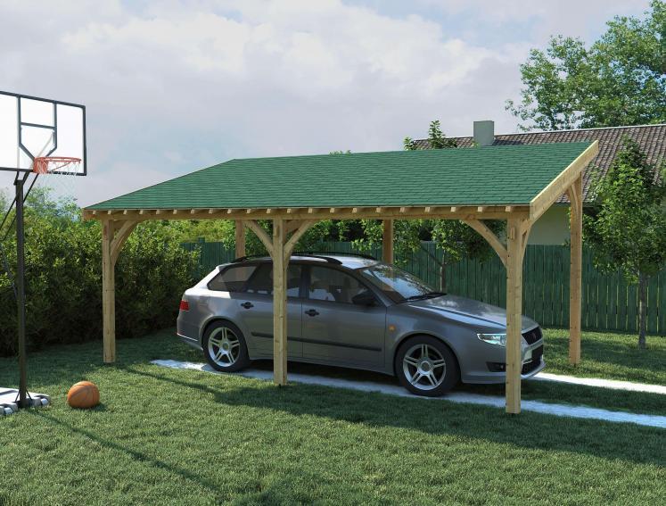 Car underneath carport made with Onduline's BARDOLINE green roof shingles