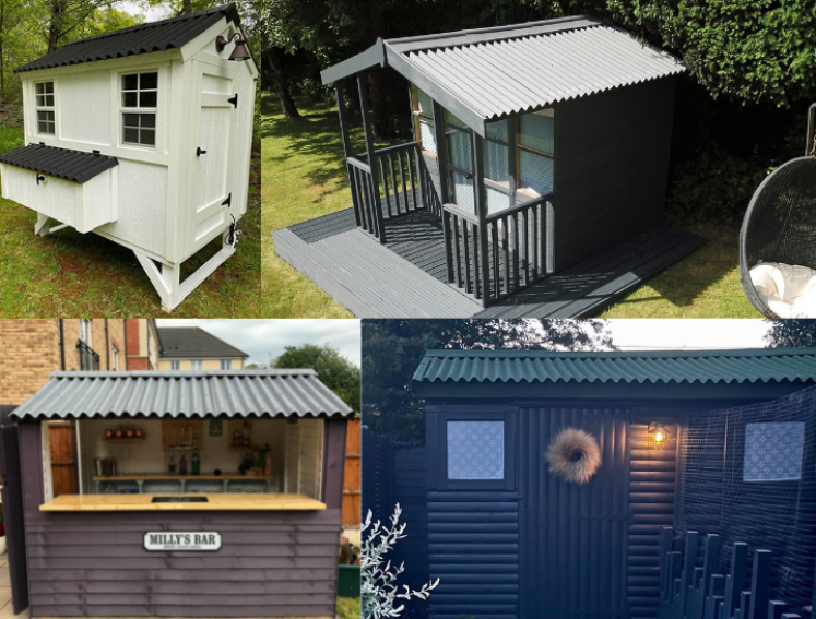 A chicken coop, a garden bar, a shed and a summerhouse all with Onduline's CLASSIC roofing