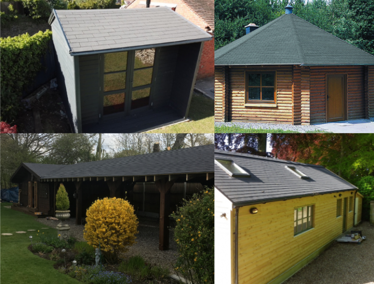 A shed, a cabin, a carport and a workshop using Onduline's BARDOLINE roofing sheets